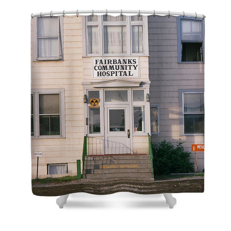 St. Joseph's Shower Curtain featuring the photograph St. Joseph's Hospital Fairbanks Alaska The Chena River 1969 by California Views Archives Mr Pat Hathaway Archives