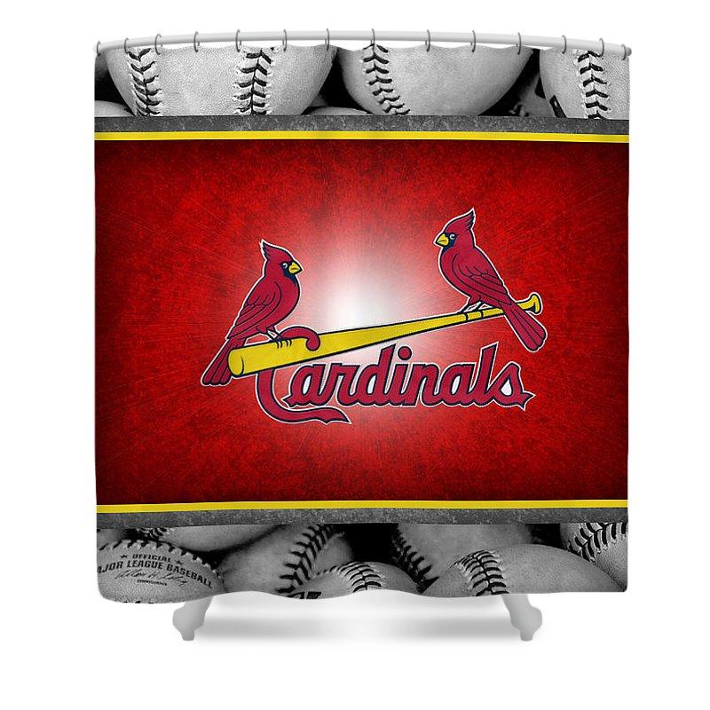 Cardinals Shower Curtain featuring the photograph St Louis Cardinals by Joe Hamilton
