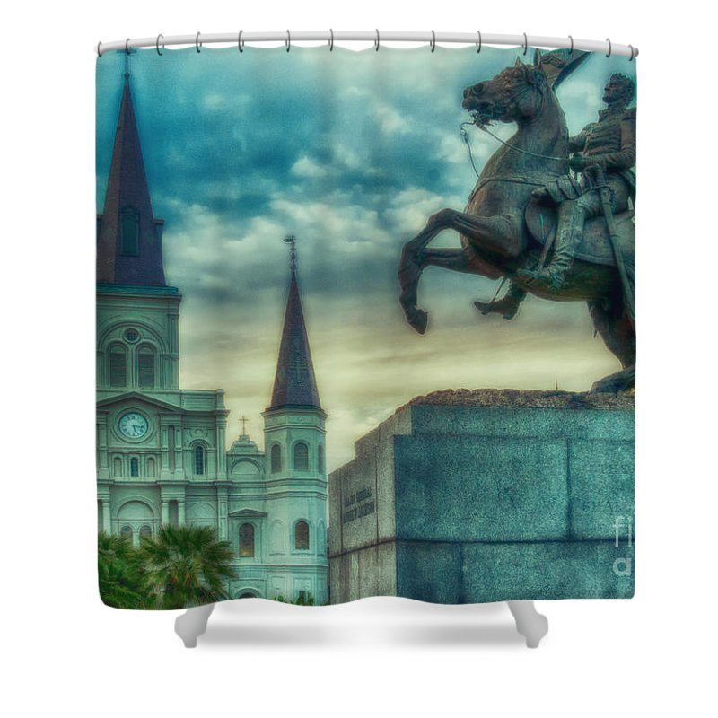 Vieux Carre Shower Curtain featuring the photograph St. Louis Cathedral And Andrew Jackson- Artistic by Kathleen K Parker