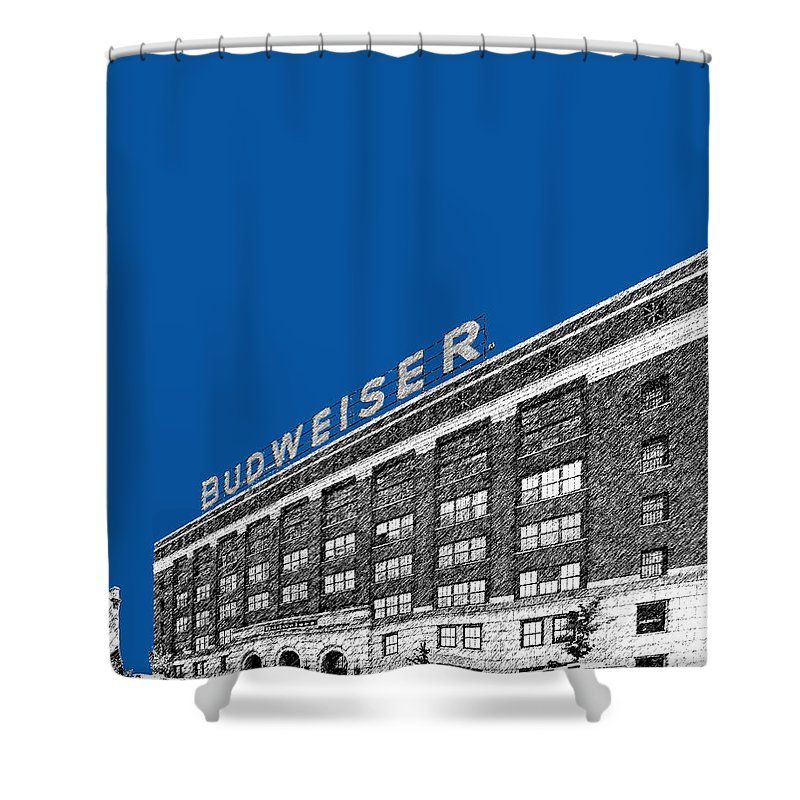 Architecture Shower Curtain Featuring The Digital Art St Louis Skyline Budweiser Brewery