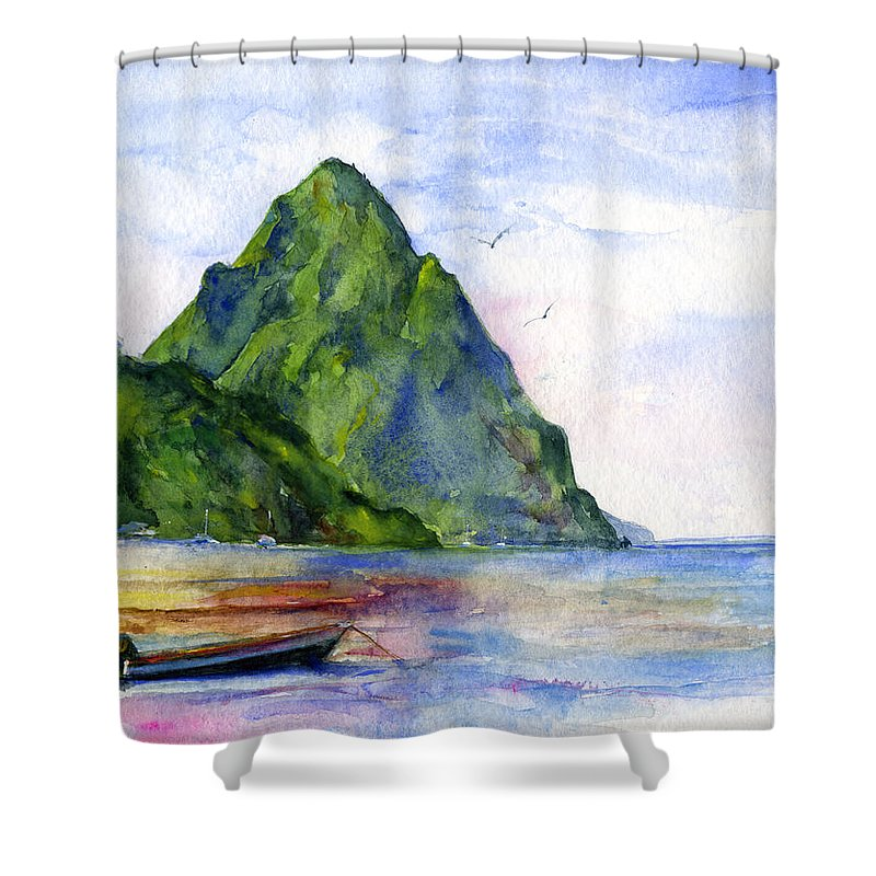 Island Shower Curtain Featuring The Painting St Lucia By John D Benson