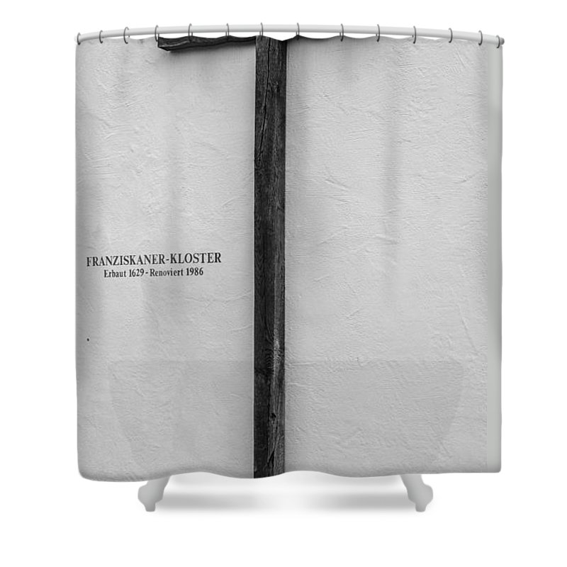 Franciscan Shower Curtain featuring the photograph Franciscan Monastery Cross - Fussen - Germany by Gary Whitton