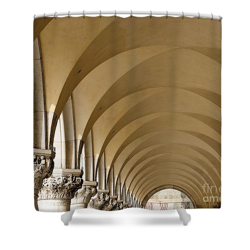 St. Marks Shower Curtain featuring the photograph St. Marks Basilica Arches Venice by Brian Raggatt