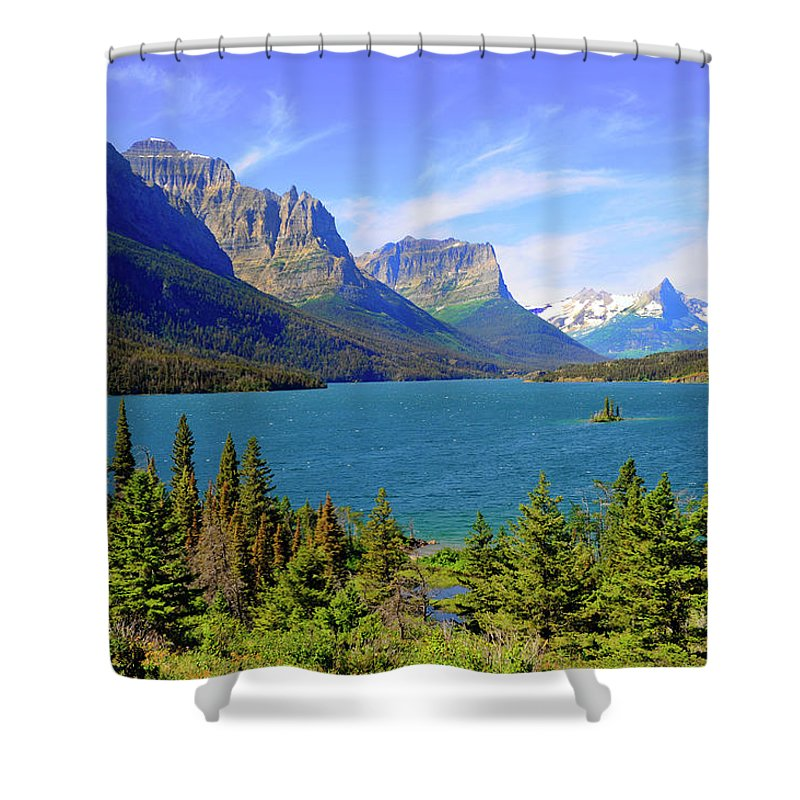 Scenics Shower Curtain featuring the photograph St. Mary Lake, Glacier National Park by Dennis Macdonald