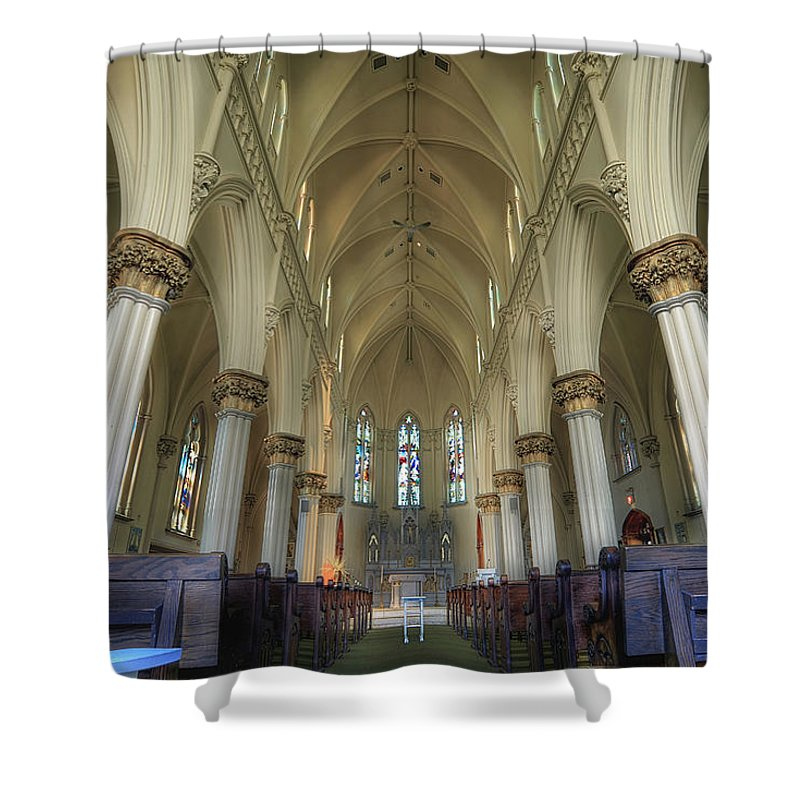 St. Mary's Shower Curtain featuring the photograph St Mary's Chapel Northeast PA by Brian Fisher