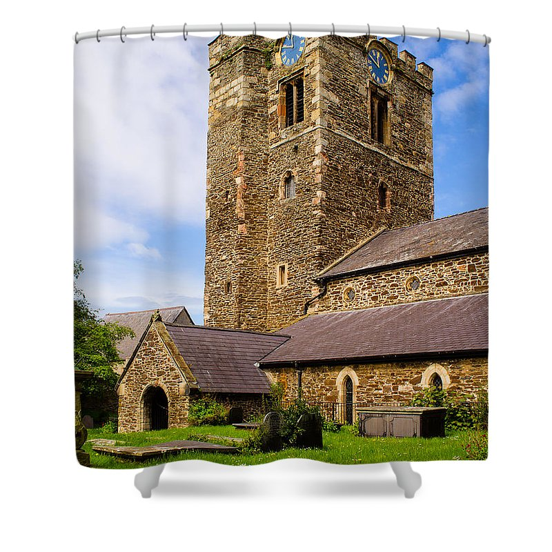 Blue Shower Curtain featuring the photograph St Mary's Church Conway by Mark Llewellyn