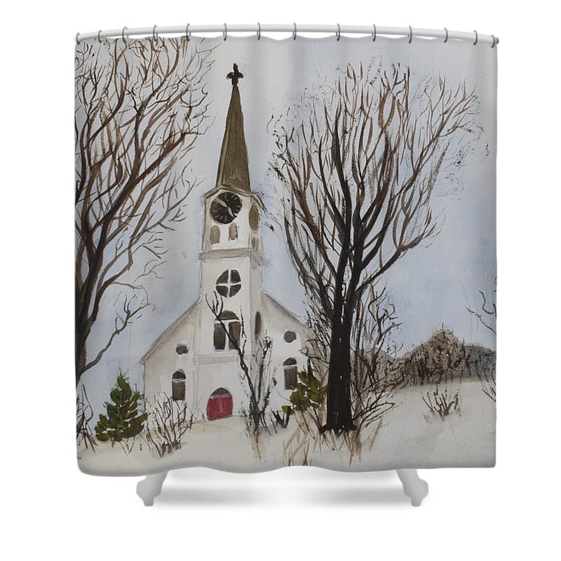 St. Pauls Shower Curtain featuring the painting St. Pauls Church In Barton Vt In Winter by Donna Walsh