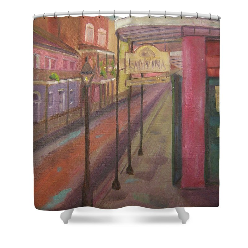 New Orleans Shower Curtain featuring the painting St. Peter Street by Lilibeth Andre