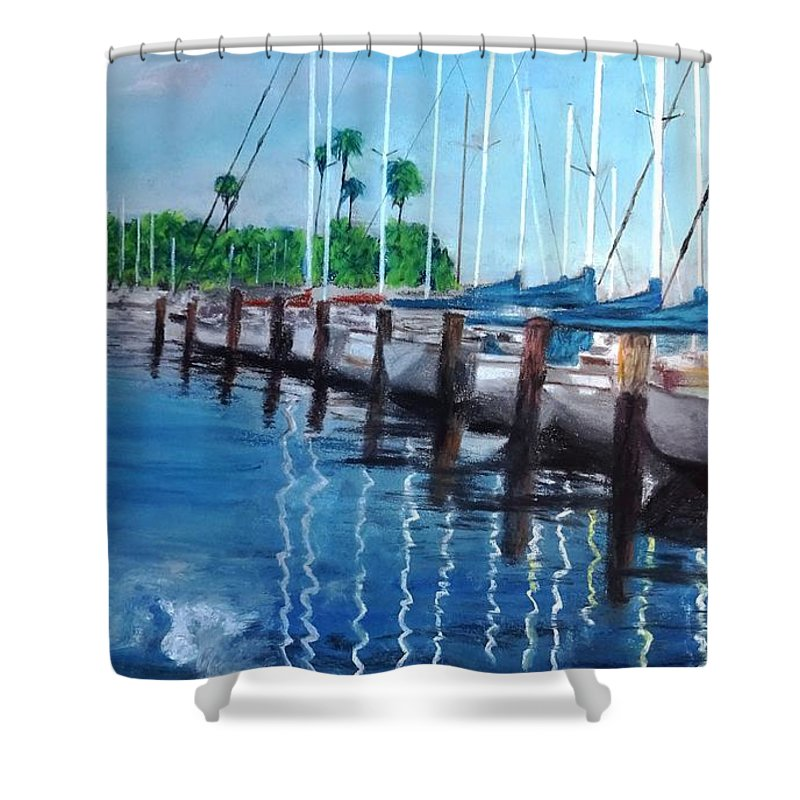 St. Petersburg Shower Curtain featuring the painting St. Petersburg Marina by Vincent Mancuso