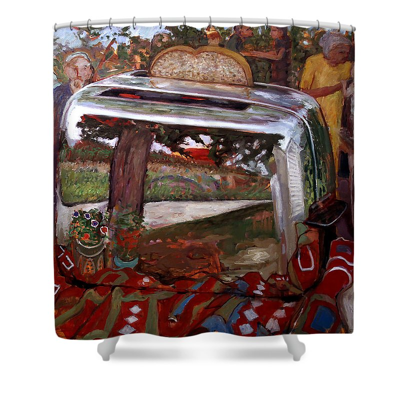 Primary Colors Shower Curtain featuring the painting St006 by Paul Emory