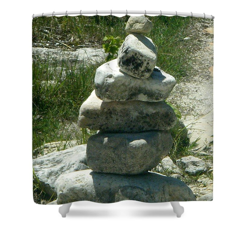 Rocks Shower Curtain featuring the photograph Stacked by April Patterson
