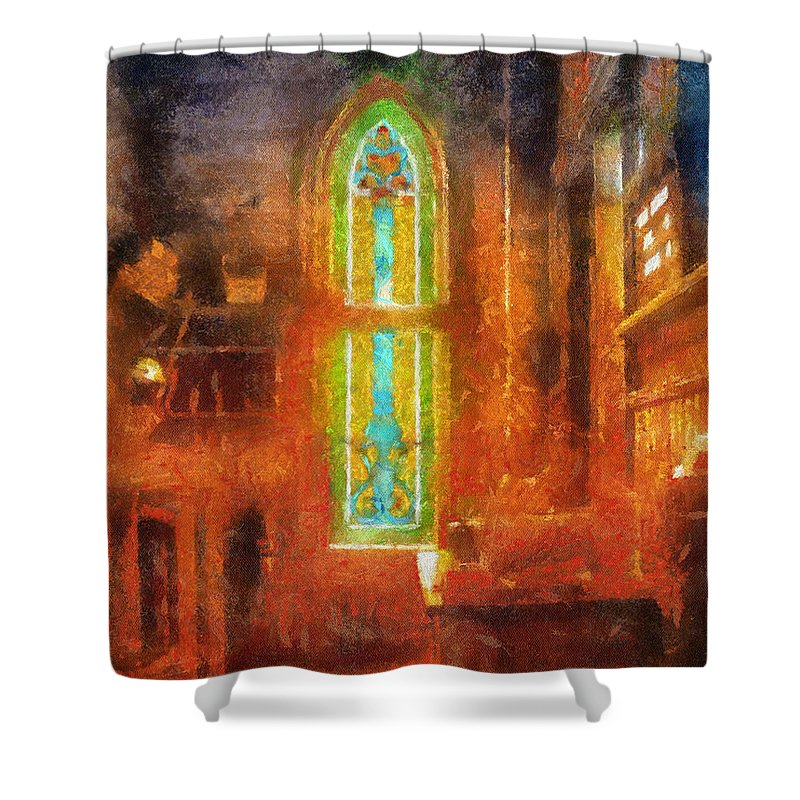 Religious Shower Curtain featuring the photograph Stained Glass 05 Photo Art by Thomas Woolworth