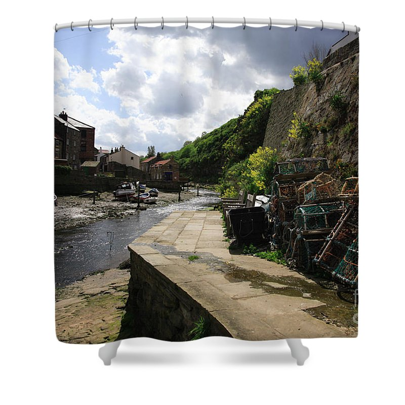 Beach Shower Curtain featuring the photograph Staithes Harbour by Deborah Benbrook