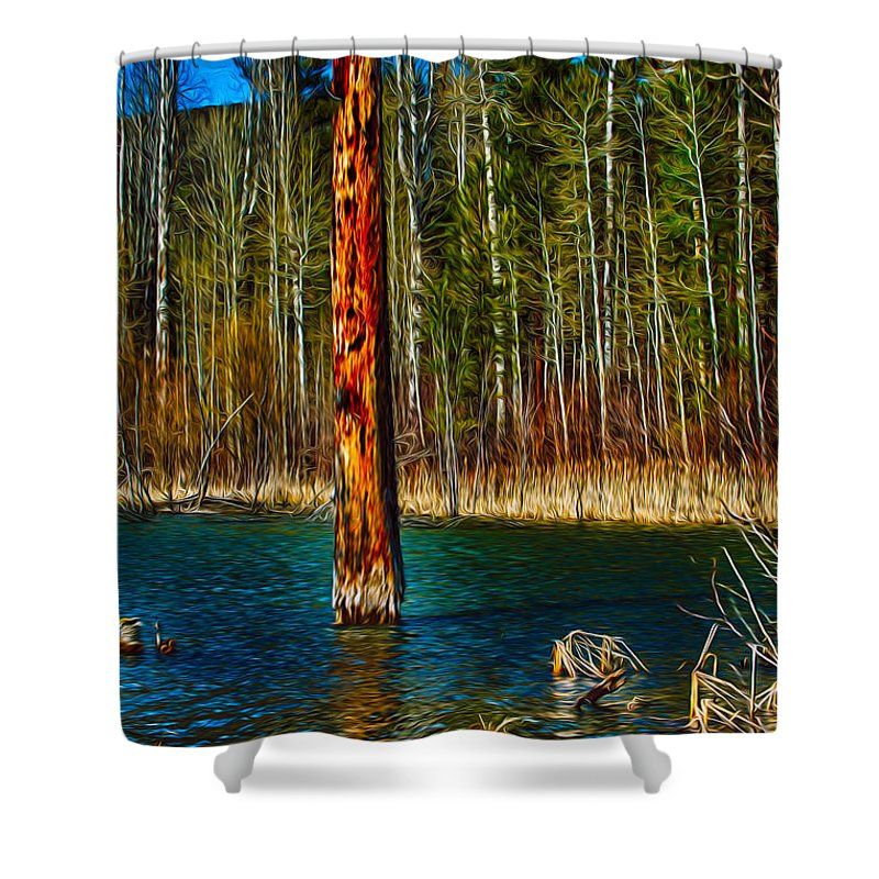 Beaver Shower Curtain featuring the painting Standing Alone by Omaste Witkowski