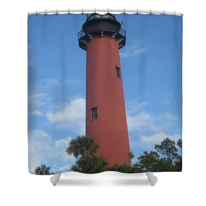 Jupiter Lighthouse Shower Curtain featuring the photograph Standing Up Above The Trees by Catie Canetti
