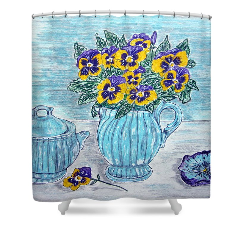 Stangl Pottery Shower Curtain featuring the painting Stangl Pottery And Pansies by Kathy Marrs Chandler