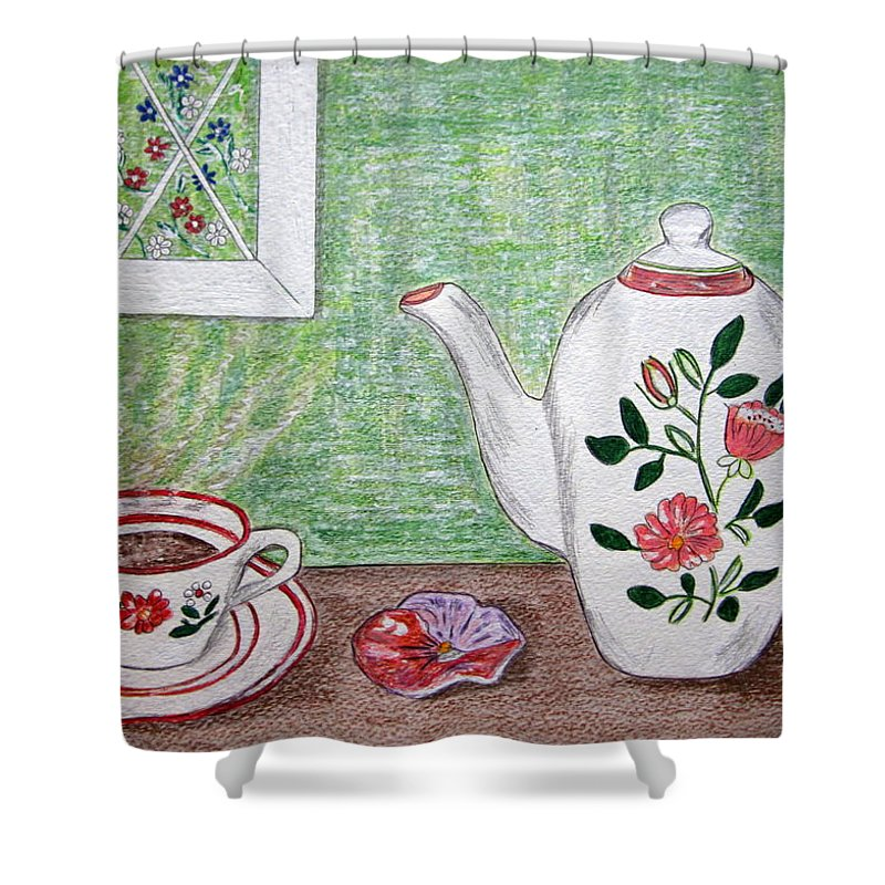 Stangl Pottery Shower Curtain featuring the painting Stangl Pottery Rose Pattern by Kathy Marrs Chandler