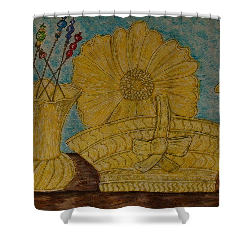 Stangl Pottery Shower Curtain featuring the painting Stangl Pottery Satin Yellow Pattern And Vintage Hat Pins by Kathy Marrs Chandler