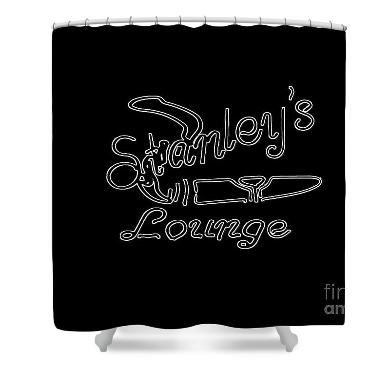 Shower Curtain featuring the photograph Stanley's Lounge In White Neon by Kelly Awad