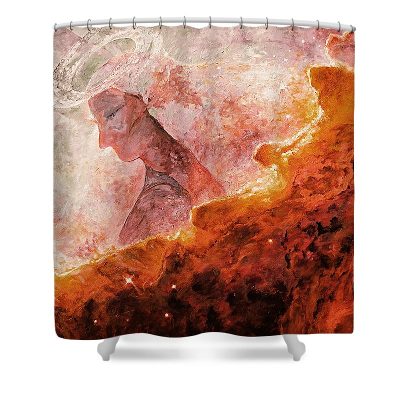 Star Dust Angel Shower Curtain featuring the digital art Star Dust Angel - Desert by Julie Turner