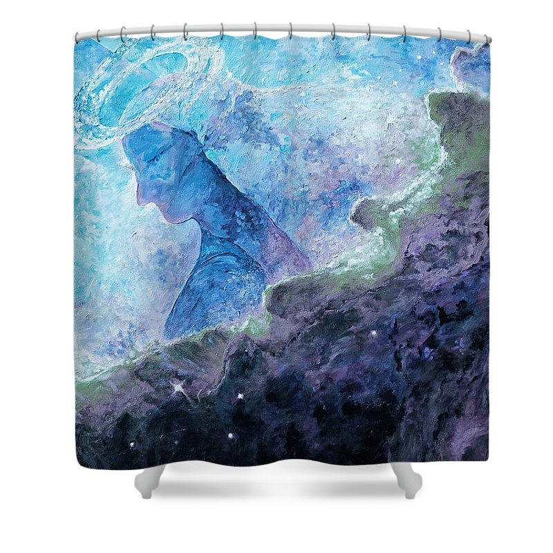 Star Dust Angel Shower Curtain featuring the digital art Star Dust Angel - Ocean by Julie Turner