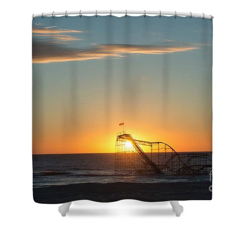 Mikeversprill.com Shower Curtain featuring the photograph Star Jet Sunrise Silhouettte by Michael Ver Sprill