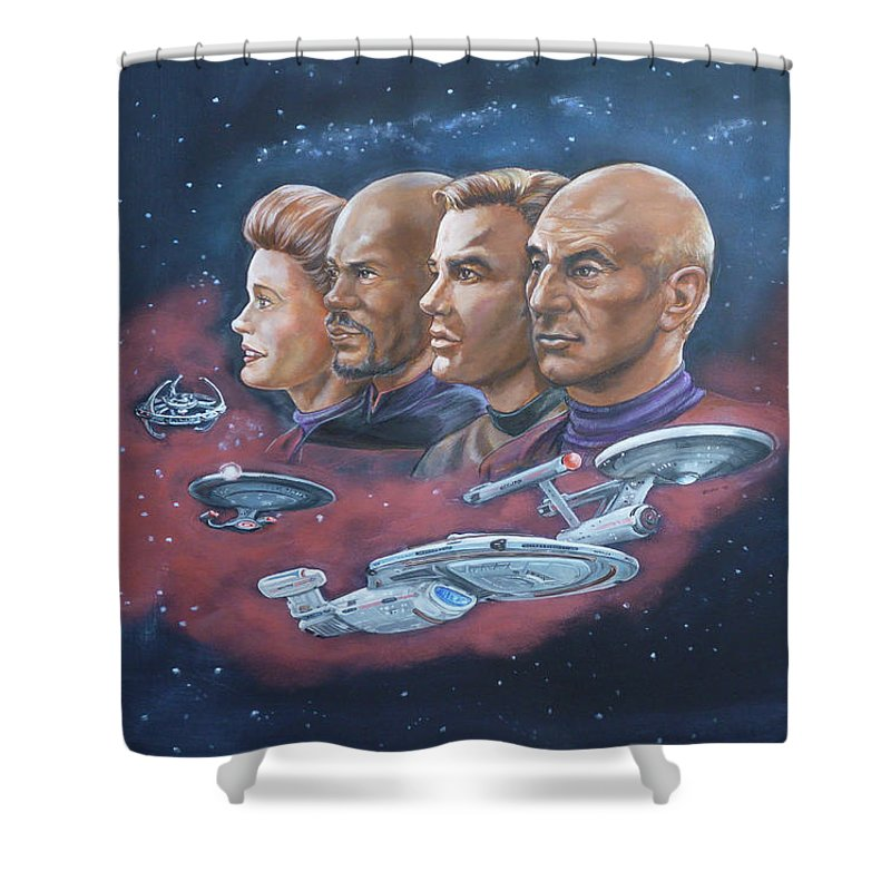 Star Trek Shower Curtain featuring the painting Star Trek Tribute Captains by Bryan Bustard