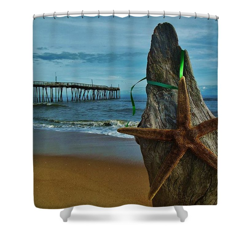 Mark Lemmon Cape Hatteras Nc The Outer Banks Photographer Subjects From Sunrise Shower Curtain featuring the photograph Starfish Driftwood And Pier 3 12/20 by Mark Lemmon