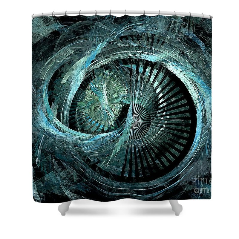 Abstract Shower Curtain featuring the digital art Stargate 431-08-13 Marucii by Marek Lutek