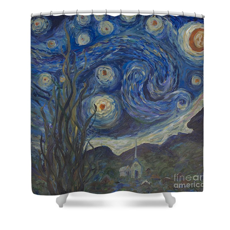 Van Gogh Shower Curtain featuring the painting Starry Night Copy 8 by Avonelle Kelsey
