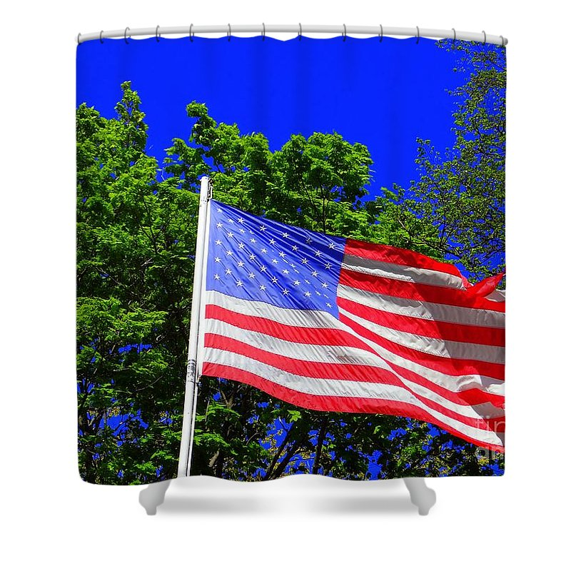 American Flag Shower Curtain featuring the photograph Stars And Stripes by Ed Weidman