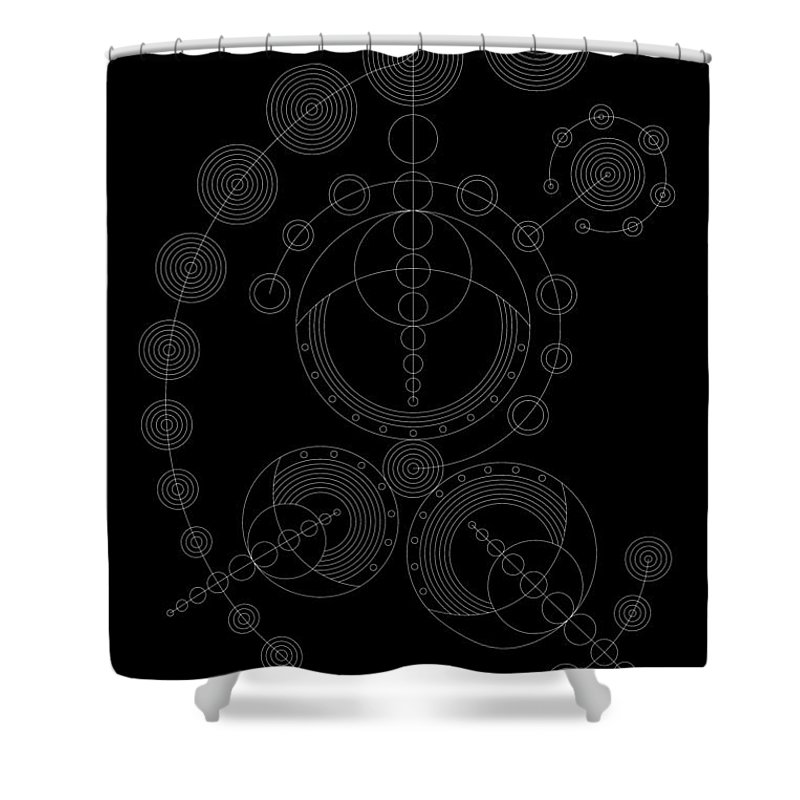 Relief Shower Curtain featuring the digital art Starship Inverse by DB Artist