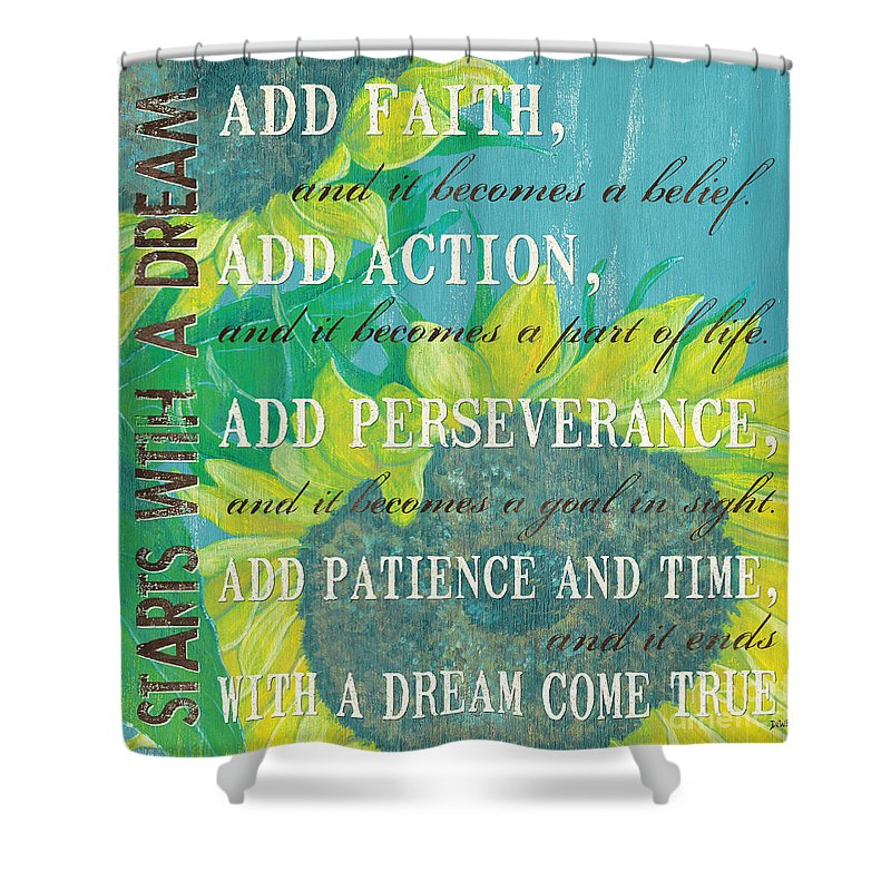Floral Shower Curtain featuring the painting Starts With A Dream by Debbie DeWitt