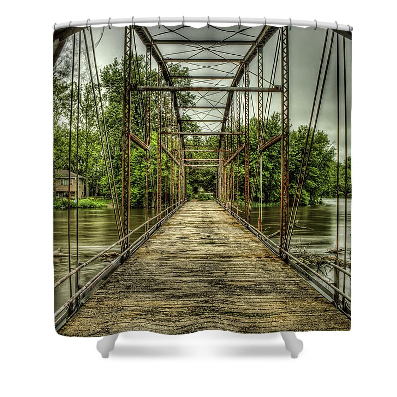 Indiana Shower Curtain featuring the photograph State Line Bridge by Scott Wood