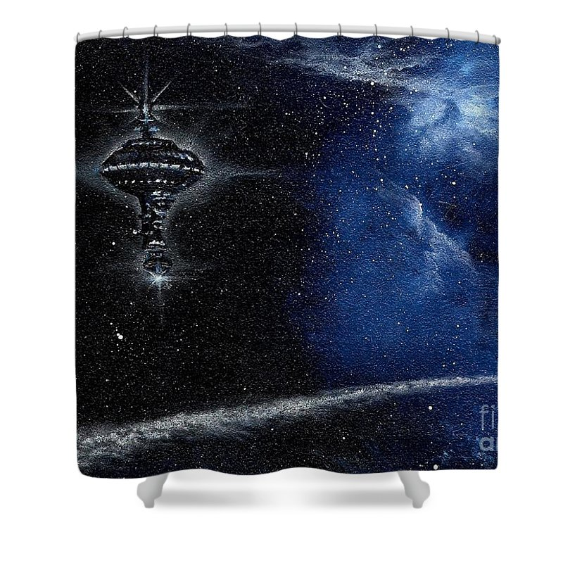 Cosmic Art Shower Curtain featuring the painting Station In The Stars by Murphy Elliott