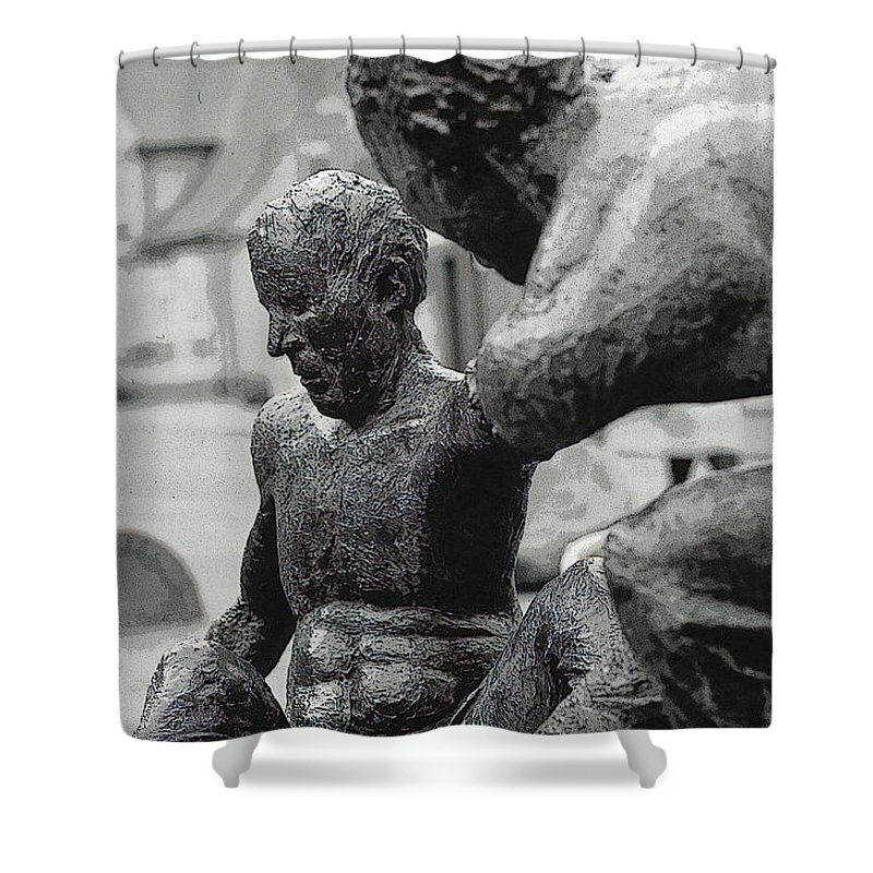 Statue Shower Curtain featuring the photograph 10401 I'm Hanging On by Colin Hunt