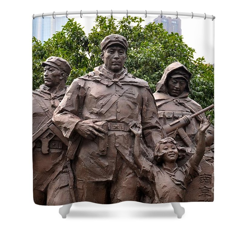 Statue Shower Curtain featuring the photograph Statue Depicting Glory Of Chinese Communist Party Shanghai China by Imran Ahmed