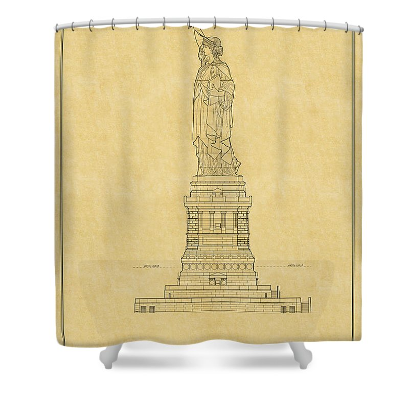 Statue of liberty blueprint 2 shower curtain for sale by andrew fare new york shower curtain featuring the photograph statue of liberty blueprint 2 by andrew fare malvernweather Images