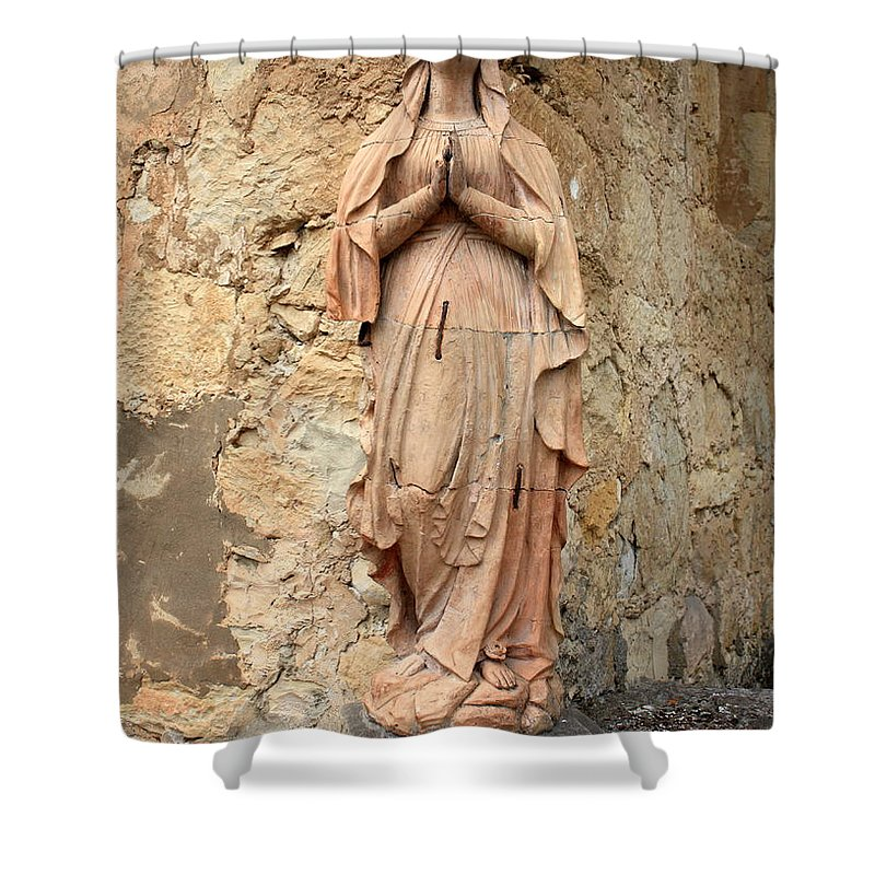 Mother Mary Shower Curtain featuring the photograph Statue of Mary in Mission Garden by Carol Groenen