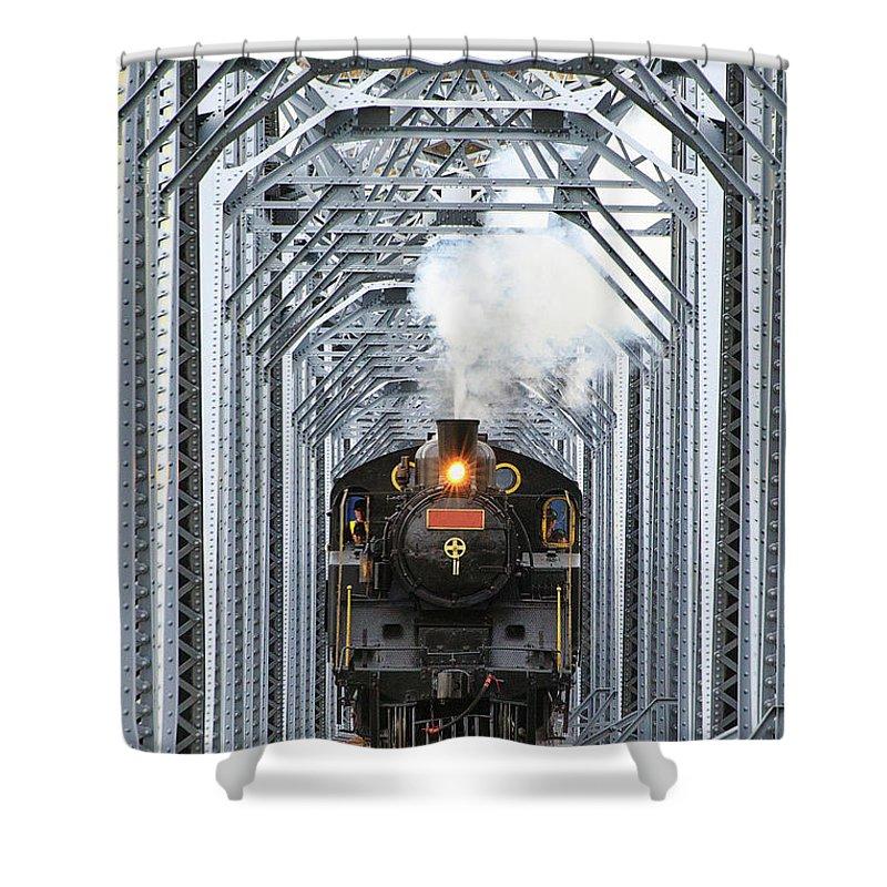 Air Pollution Shower Curtain featuring the photograph Steam Train by Peter Hong