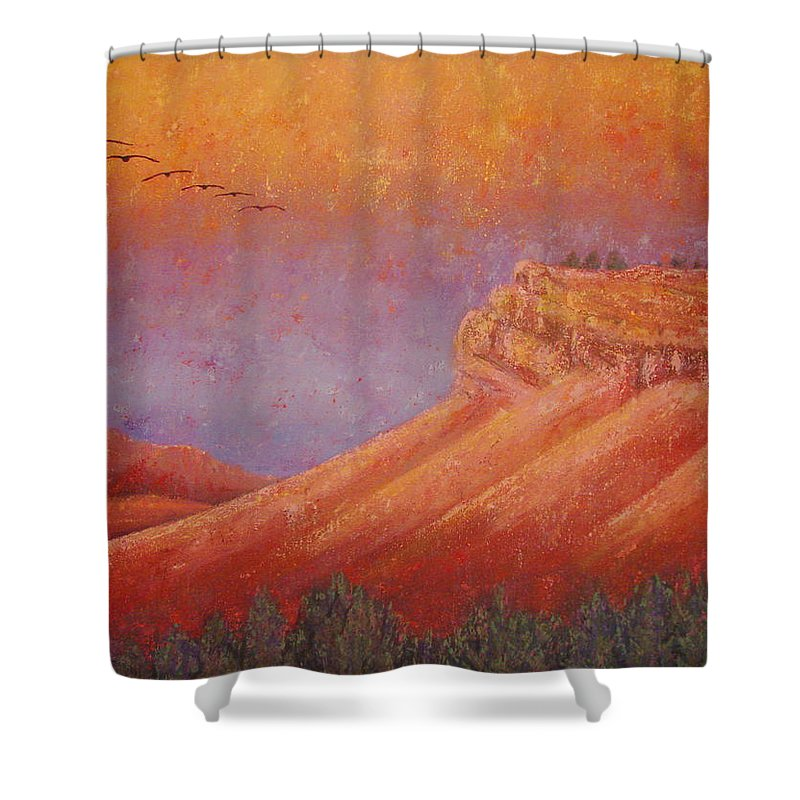 Steamboat Mountain Shower Curtain featuring the painting Steamboat Mountain at Sunrise by Margaret Bobb