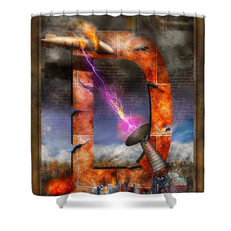 Self Shower Curtain featuring the digital art Steampunk - Alphabet - D Is For Death Ray by Mike Savad