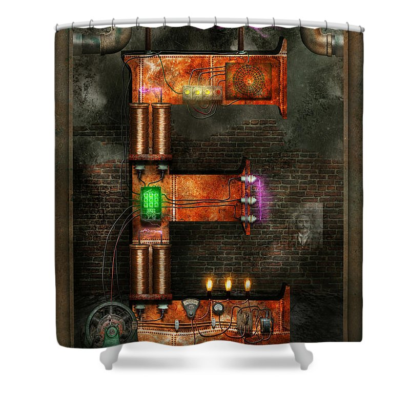 Self Shower Curtain featuring the digital art Steampunk - Alphabet - E Is For Electricity by Mike Savad