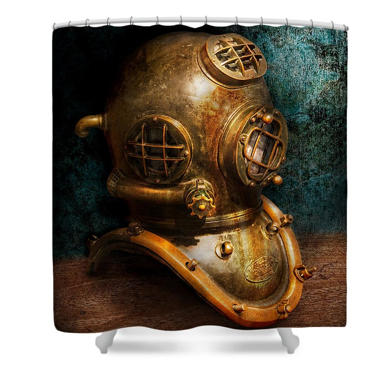 Hdr Shower Curtain featuring the photograph Steampunk - Diving - The Diving Helmet by Mike Savad