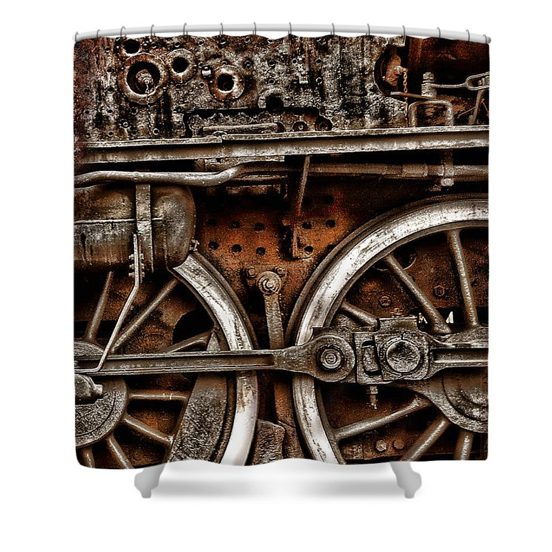 Steampunk Shower Curtain featuring the photograph Steampunk- Wheels Locomotive by Daliana Pacuraru