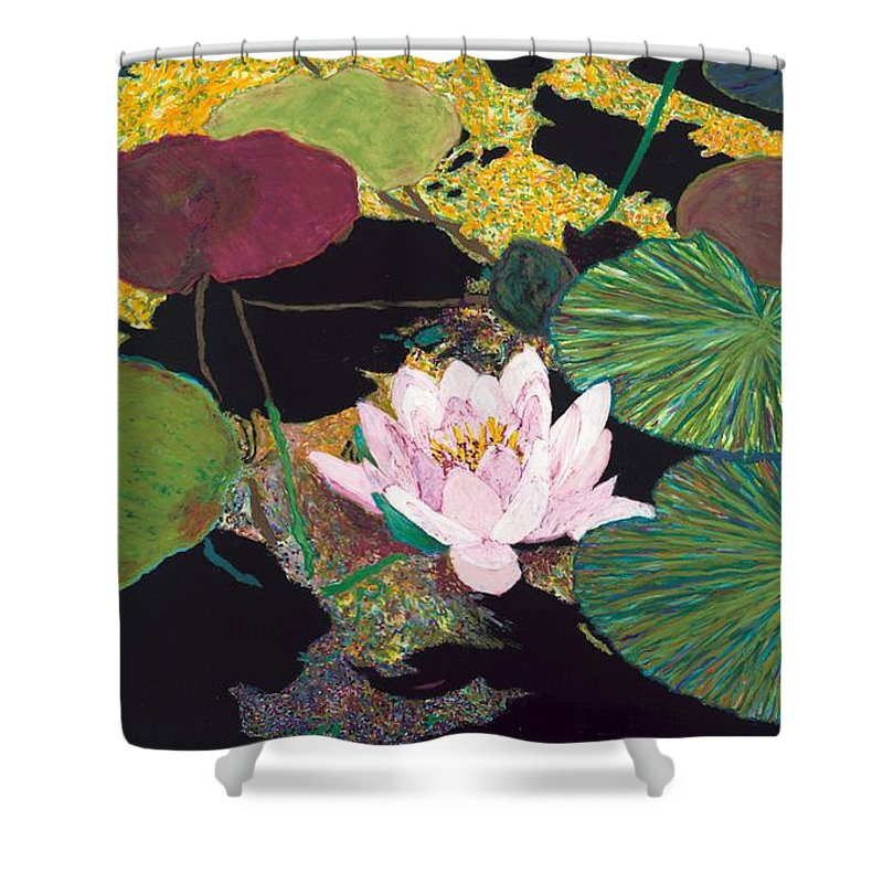 Landscape Shower Curtain featuring the painting Steamy Pond by Allan P Friedlander