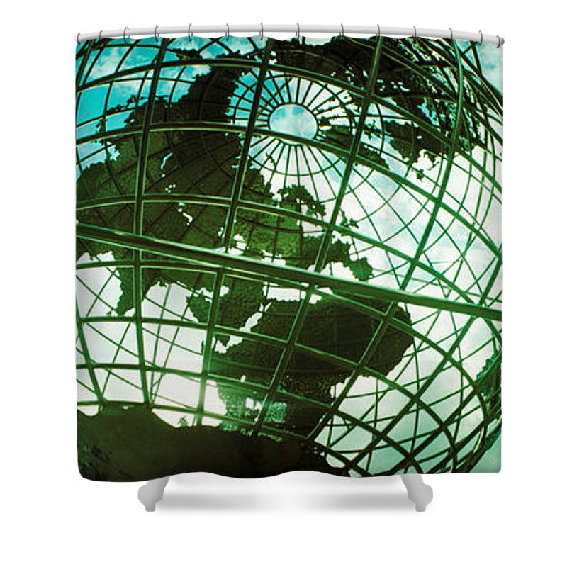 Photography Shower Curtain featuring the photograph Steel Globe At The Trump International by Panoramic Images