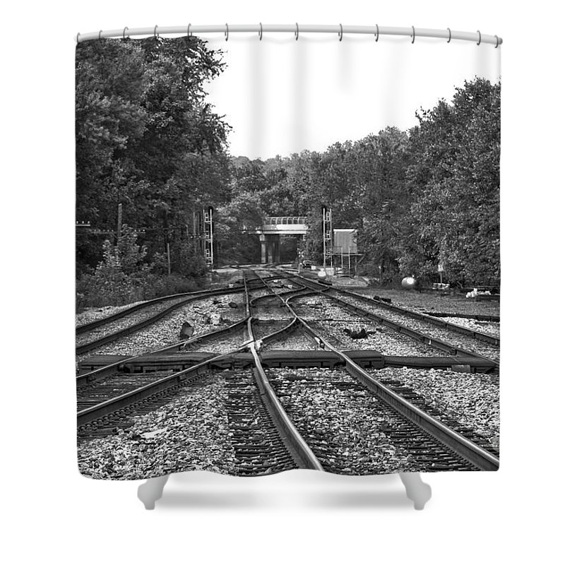 Railroad Shower Curtain featuring the photograph Steel Rail Intersections.  Point Of Rocks Md by Thomas Marchessault