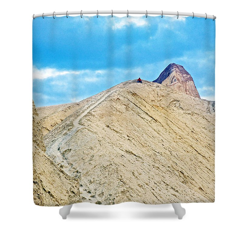Steep Trail To Manly Beacon From Golden Canyon In Death Valley National Park Shower Curtain featuring the photograph Steep Trail To Manly Beacon From Golden Canyon In Death Valley National Park-california by Ruth Hager