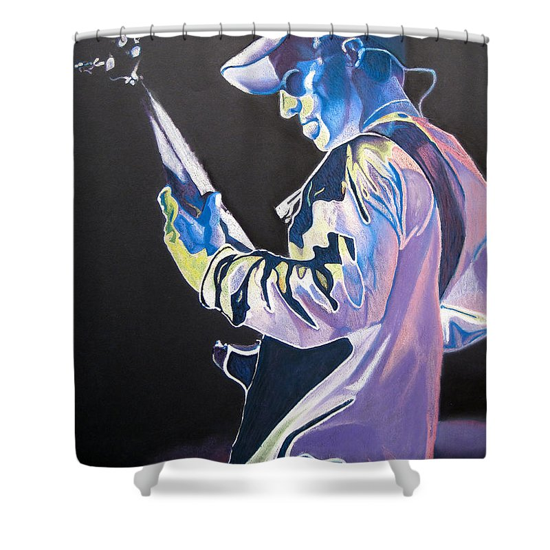 Stefan Lessard Shower Curtain featuring the drawing Stefan Lessard Colorful Full Band Series by Joshua Morton